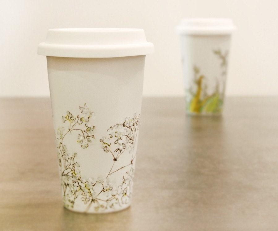 ceramic eco travel mug Babys Breath by yevgenia on Etsy