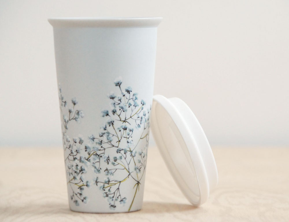 Eco Friendly Ceramic Travel Mug Babys Breath Collection
