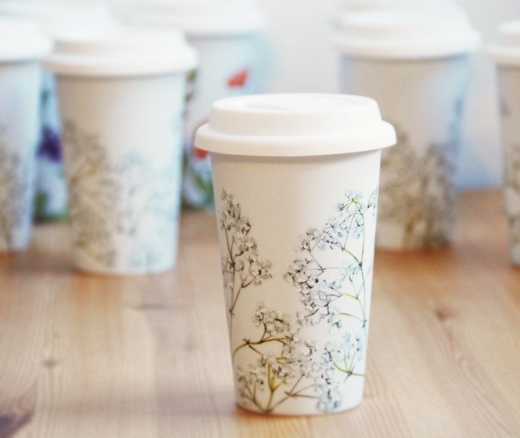 Eco-Friendly Floral Ceramic Travel Mug