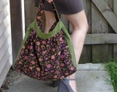 Two-tone Wendy Tote - Black Floral and Green Corduroy