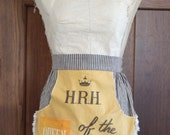SALE HRH, Queen of the Kitchen, vintage 70s apron, funny mother's day gift