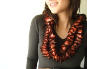 Orange White and Brown Neck Warmer Scarf Very Long Skinny