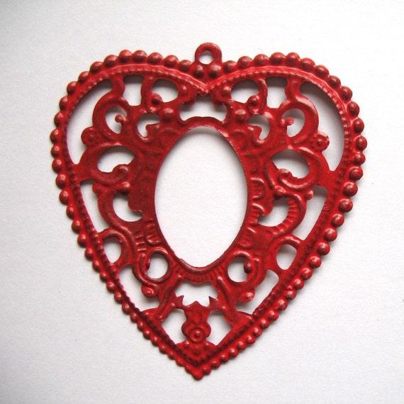 60mm - Red Metal Filigree Heart (pkg 4)