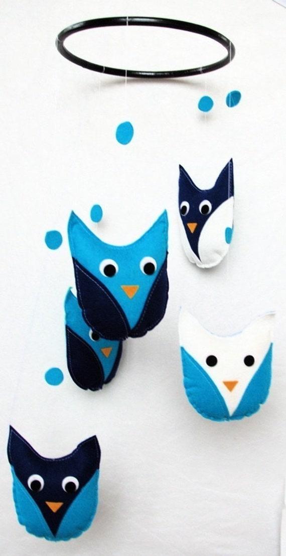 Hanging Owl Mobile Brilliant Bright Blue Turquoise White Cobalt