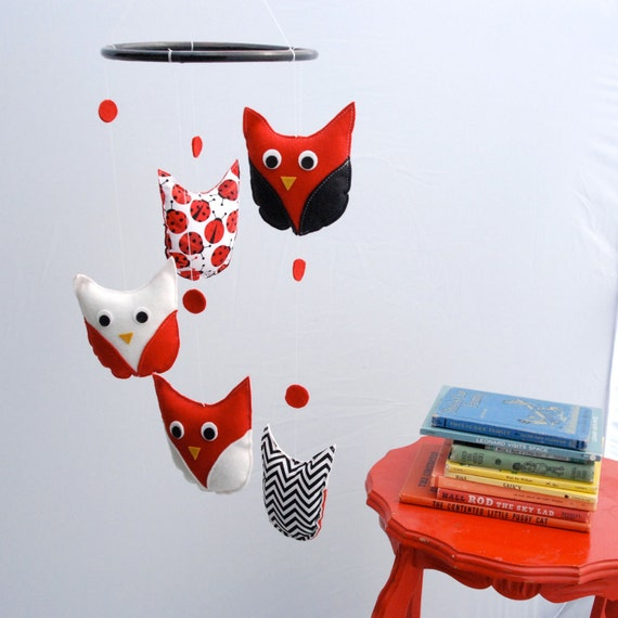 Red, Black and White Owl Mobile for the Modern Baby