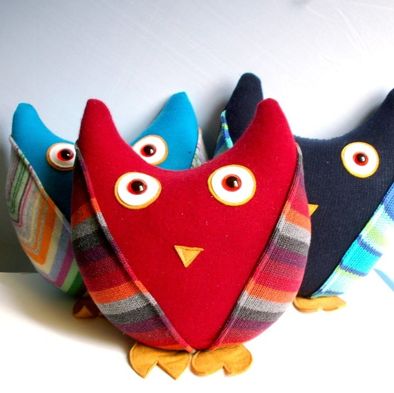 Plush Sweater Owl Made From Recycled Sweaters Red, Yellow, Orange, Burgundy Stripes