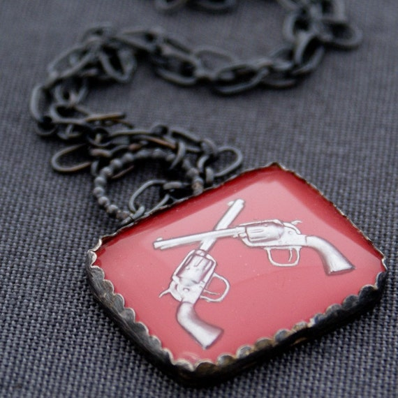 Miss Bonnie Parker. Vintage Glass and Handwrought Sterling Silver.  Firearm Pistol Necklace.