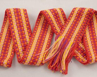 Handwoven Cotton Belt / Strap Oranges, Pinks, Yellows