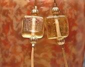 Golden Citrine Square Glass Bead Earrings