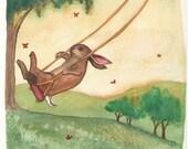 RESERVED - Original Rabbit Watercolor Painting - Summer Swing