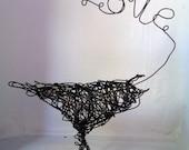 Big LOVE Bird - Wire Bird Sculpture