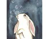 Original Watercolor Animal Painting - New Snow -  ACEO