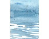 Original Watercolor Painting - August Waves - ACEO