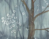 Original Watercolor Landscape  Painting - Twilight Woods - Watercolor Original