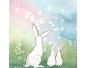 RESERVED - Original Watercolor Rabbit  Painting - Twin Baby Bunnies