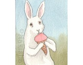 Original Watercolor Rabbit Painting - Strawberry Ice - ACEO