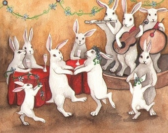 Dancing Rabbits- Limited Edition Fine Art Print - All Prints ship for FREE in the USA