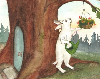 Original Watercolor Rabbit Painting - Little White Rabbit  At Home