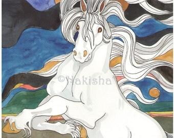 Original  Watercolor Illustration - Moon Stallion