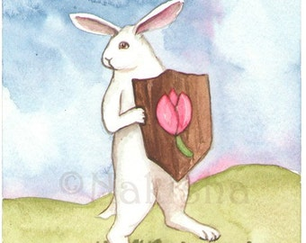 The Rabbit Tarot - Original Art - Page of Tulips