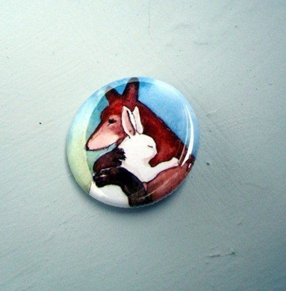 Rabbit Hugging a Fox - One 1.25 inch Bunny Button