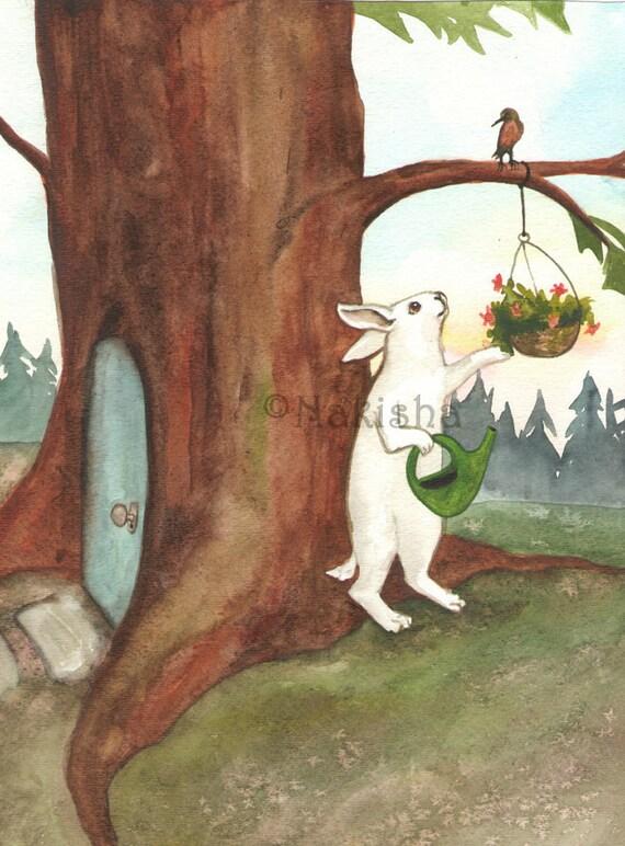 Original Watercolor Rabbit Painting Little White Rabbit At