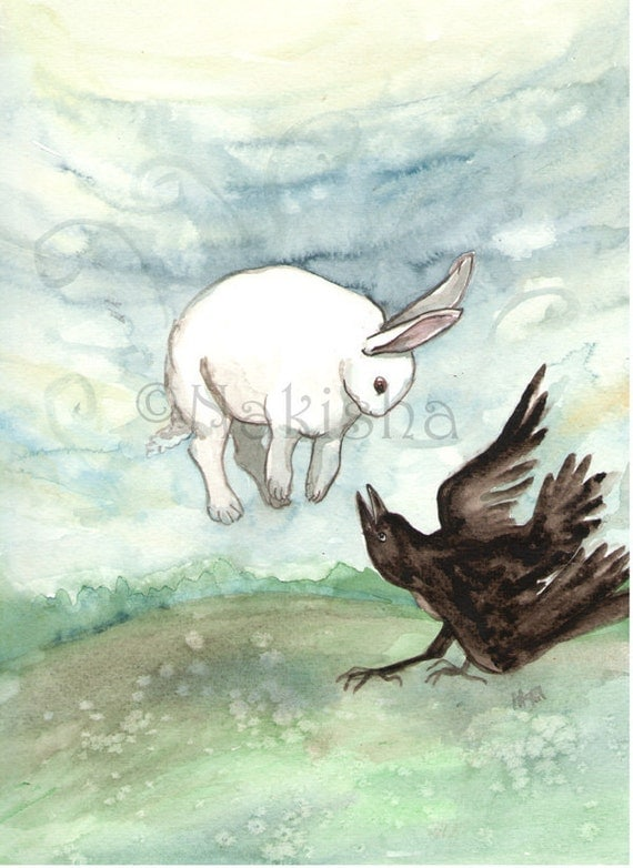Original Watercolor Crow Painting - Rabbit and Crow Playing
