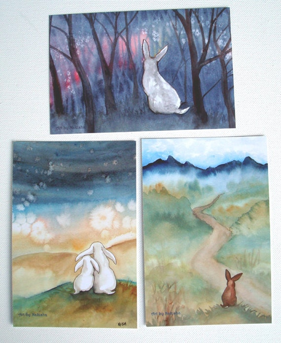 Art Postcards - Rabbits in Spring - Set of Six