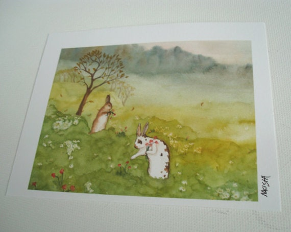 Fine Art Rabbit Print - In the Meadow - Small Size