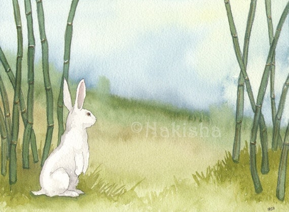 Original Art - White Rabbit in the Bamboo - Watercolor Animal Painting