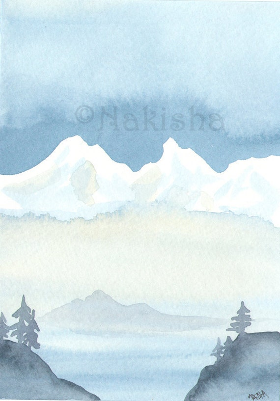 Reserved for E -Original Watercolor Landscape  Painting - Ghost Island - Imaginary Sound Series