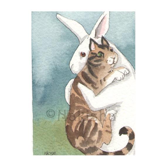 Original Watercolor Rabbit Painting - Big Kitty - ACEO