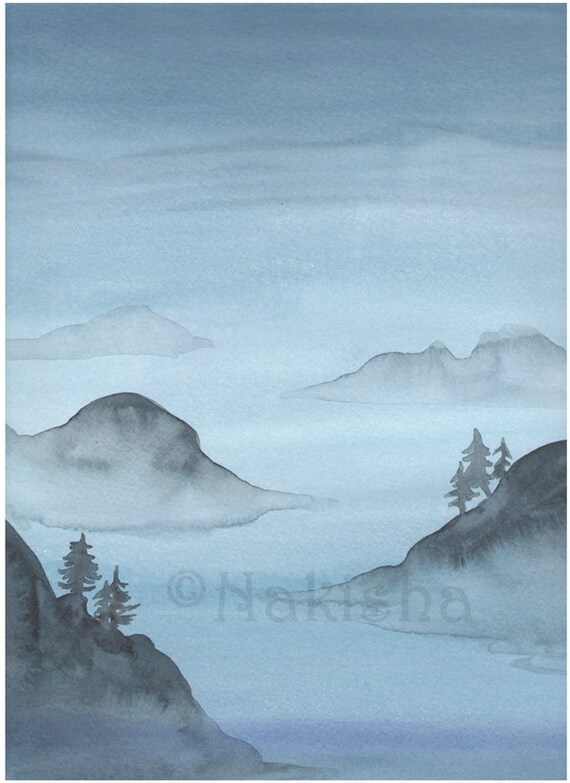 Reserved for E -LARGE Original Watercolor Landscape  Painting - Blue Sound