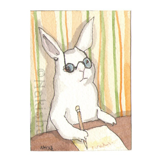 Original Watercolor Rabbit Painting - Homework - ACEO