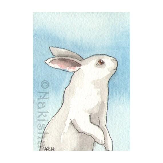Original Watercolor Rabbit Painting - Mitzi - ACEO