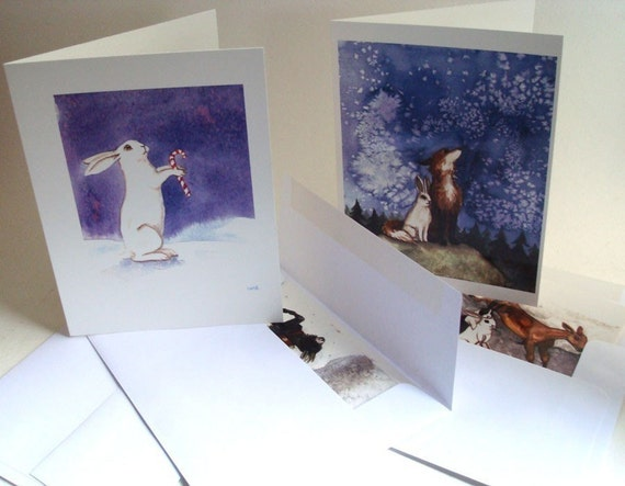 Winter Greeting Cards- Set of Eight- Rabbit and Animals
