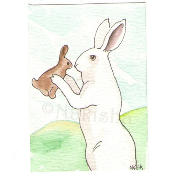 New Chocolate Bunny- ACEO original watercolor painting