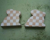 Rabbits Gingham CHECK Bunny Wood Block Super Strong Magnet