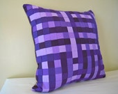 Woven Purple Fabric Pillow with Natural Linen Back