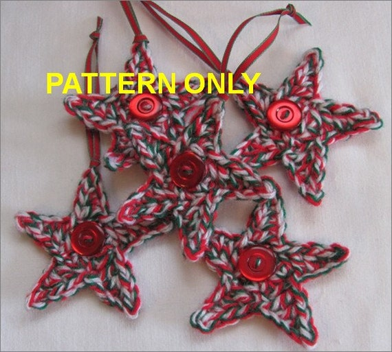 Crochet Pattern Christmas Stars Quick & Easy Raggy Primitive Upcycled Pattern 4 Sizes