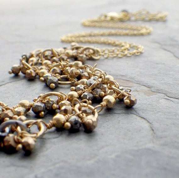 gold rosary necklace with pyrite