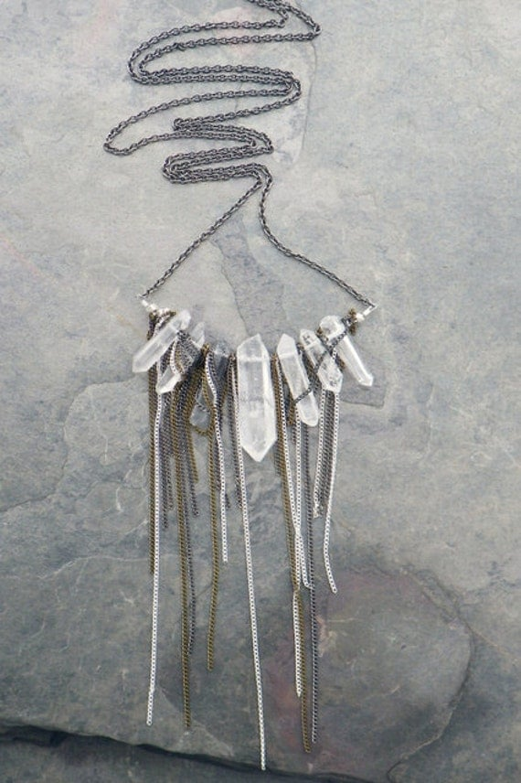 clear crystal quartz necklace, extra long - gunmetal, silver, & antique brass chain