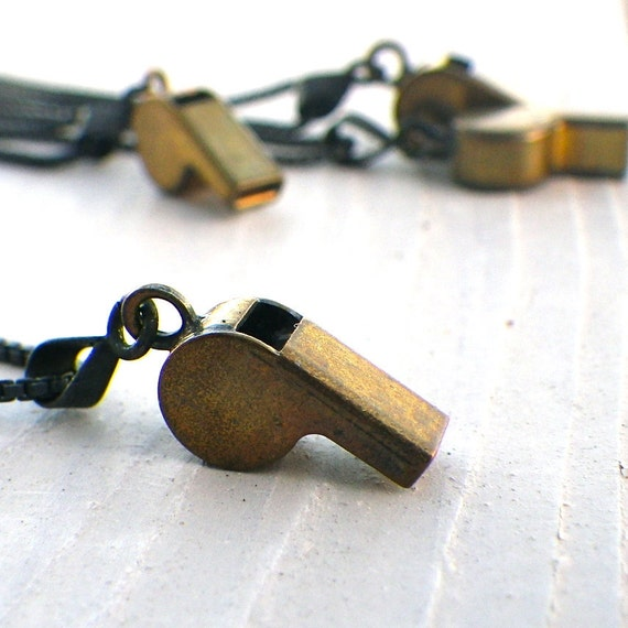 miniature vintage whistle necklace, sterling silver
