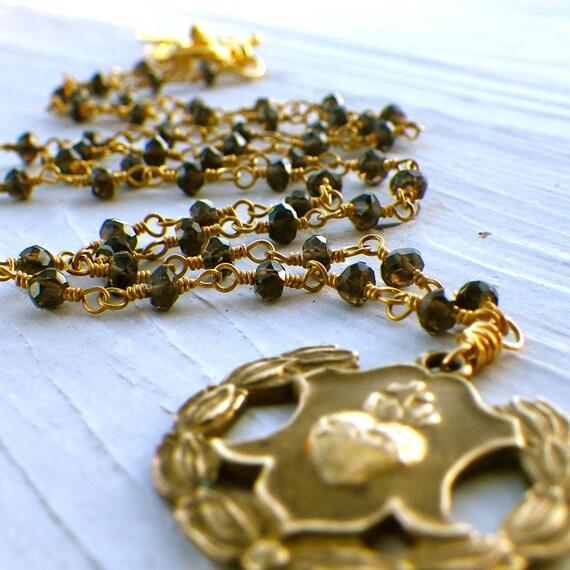 gold rosary necklace, dark smoky topaz, catholic religious, sacred heart of jesus