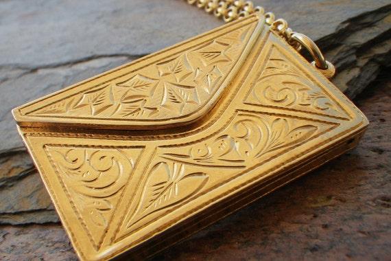 oversized vintage love letter envelope pendant necklace, long, gold