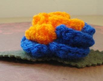 Crocheted Rose Bar Pin - Blue and Orange (SWG-PS-PO02)