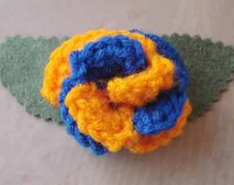 Crocheted Rose Barrette - Orange and Blue (SWG-HB-PO02)