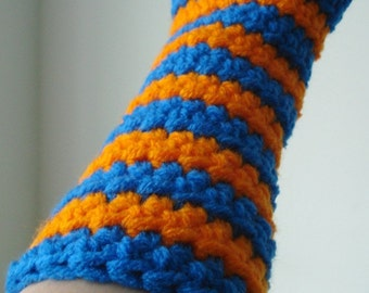 Blue and Orange Striped Crocheted Arm Warmers (size S-M) (SWG-AW-SJ02)