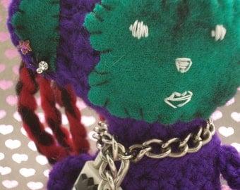 SALE - Ambrosia, the Punk Rock Monkey Girl - Crocheted Amigurumi Doll