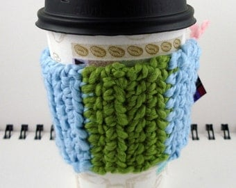 Ice Blue and Avocado Green Organic Cotton Crocheted Coffee Cozy (SWG-D08)
